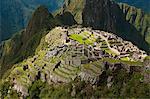 "South America, Peru, Cuzco region, Urubamba Province, Unesco World heritage since 1983, Machu Picchu (""old mountain""), aerial view"