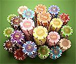 Stacks of gambling chips, illustration