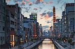Dotombori at sunset, Osaka, Kansai, Japan, Asia