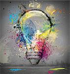 Paint light bulb symbol of smart idea