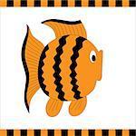 Funny orange fish with black stripes. Vector illustration
