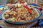 Oriental  pilaf .Uzbek cuisine -Central Asian cuisine