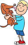 Cartoon Illustration of Boy with Dog or Puppy