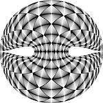 Design warped diamond trellised backdrop. Abstract geometric monochrome element. Vector art. No gradient