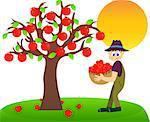 Illustration of a farmer harvesting apples.