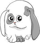 Cartoon Illustration of Cute Bunny Baby Animal
