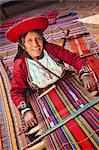 Peruvian woman weaving carpet, Sacred Valley