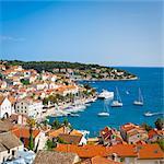 Elevated view over Hvar's picturesque harbour, Stari Grad (Old Town), Hvar, Dalmatia, Croatia, Europe