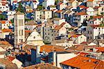 Elevated view over the picturesque harbour town of Hvar, Hvar, Dalmatia, Croatia, Europe