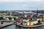 Skyline view over Gamla Stan, Riddarholmen and Riddarfjarden, Stockholm, Sweden, Scandinavia, Europe
