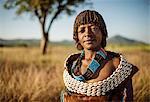 Portrait of Burui, Banna Tribe, Gargew Village, Omo Valley, Ethiopia, Africa
