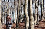 Hiker walking across woods, Montseny, Barcelona, Catalonia, Spain