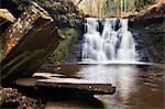 Stone Slabs and Goitstock Waterfall, Cullingworth, Yorkshire, England, United Kingdom, Europe