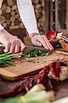 Unrecognizable person cutting parsley