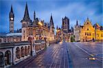 Image of Ghent, Belgium during rainy twilight blue hour.
