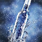 Water splash and bottle