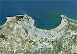 Colour satellite image of Algiers, Algeria. Image taken on July 17, 2014 with Landsat 8 data.