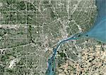 Colour satellite image of Detroit, Michigan, USA. Image taken on June 14, 2014 with Landsat 8 data.
