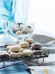 Still life with tray of Italian fave dei morti cakes
