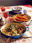 Still life of Moroccan harissa dish with carrots