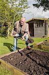 Senior man, digging soil in garden
