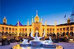 Denmark, Hillerod, Copenhagen, Tivoli Gardens. The Nimb Hotel at Christmas.