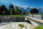 Europe, France, Haute Savoie, Rhone Alps, Chamonix Valley, river rafting below Mont Blanc