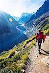 Europe, France, Haute Savoie, Rhone Alps, Chamonix Valley, hiker above Mer de Glace MR