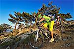 Mountain bikers at Selakano, Myrtos, Crete, Greece, Europe, MR