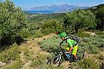 Mountain biker at Selakano, Myrtos, Crete, Greece, Europe, MR