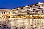 Italy, Veneto, Venice. St Marks square illuminated before dawn