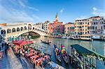 Italy, Veneto, Venice. Rialto bridge high angle view