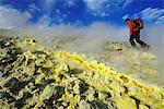 Hikers on the Gran craters runs through Solfatare, Vulcano Island, Aeolian, or Aeolian Islands, Sicily, Italy, Europe, MR
