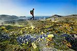 Hikers on the Gran craters walks through Steam, Vulcano Island, Aeolian, or Aeolian Islands, Sicily, Italy, Europe, MR