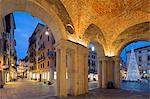 Europe, Italy, Veneto, Vicenza, Christmas decorations in Piazza Signori, Unesco World Heritage Site