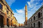Europe, Italy, Veneto, Vicenza, Piazza Signori, clock tower on the Basilica Palladiana, Unesco World Heritage Site