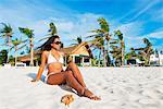South East Asia, Philippines, The Visayas, Cebu, Malapascua island, girl on Bounty beach (MR)