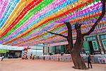 Asia, Republic of Korea, South Korea, Seoul, Jogyesa buddhist temple, lantern decorations for festival of lights