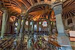 Interior of the Church of Colonia Guell, Coloma de Cervello, Catalonia, Spain