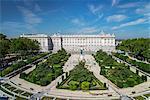 Top view over Plaza de Oriente square with Palacio Real or Royal Palace behind, Madrid, Comunidad de Madrid, Spain