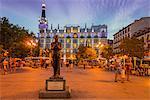 Bronze sculpure of spanish poet Federico Garcia Lorca in Plaza de Santa Ana, Madrid, Comunidad de Madrid, Spain