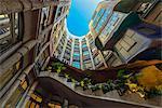 Main courtyard of Casa Mila or La Pedrera, Barcelona, Catalonia, Spain