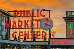 Pike Place Market neon sign at sunset, Seattle, Washington, USA
