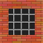 Prison Window 0n Red Brick Wall. Jail Wall with Window.