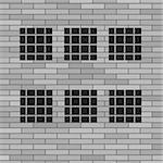 Prison Grey Brick Wall with Windows. Jail Wall.