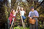 Multi-generation family picking apples, Munich, Bavaria, Germany