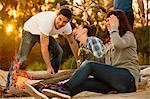 Group of friends by campfire having fun, Osijek, Croatia