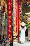 Woman wearing ao dai dress at Phuoc An Hoi Quan Pagoda, Cholon, Ho Chi Minh City, Vietnam, Indochina, Southeast Asia, Asia