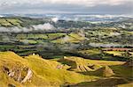 Misty farmland from Black Mountain, Capel Gwynfe, Brecon Beacons National Park, Carmarthenshire, Wales, United Kingdom, Europe