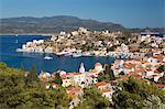 View of harbour, Kastellorizo (Meis), Dodecanese, Greek Islands, Greece, Europe